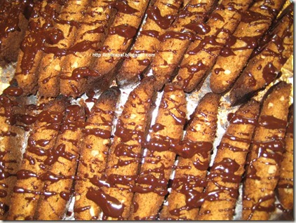 Chitra Pal Walnut Coffee Biscotti with Chocolate Ganche