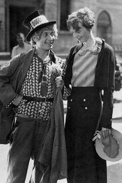 Amelia Earhart on Amelia Earhart And Harpo Marx   Dressed As A Dog Catcher  Ca  1932