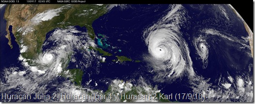 Huracan Julia 2, Huracan Igor 3 y Huracan 2 Karl (17/9/10)