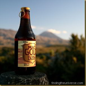 Macs Gold Lager with Mount Ngauruhoe in background
