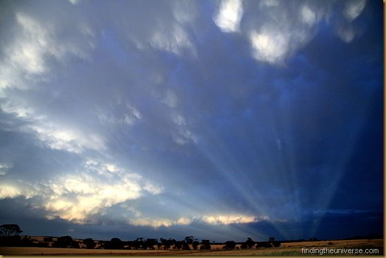 Anticrepuscular rays at sunset