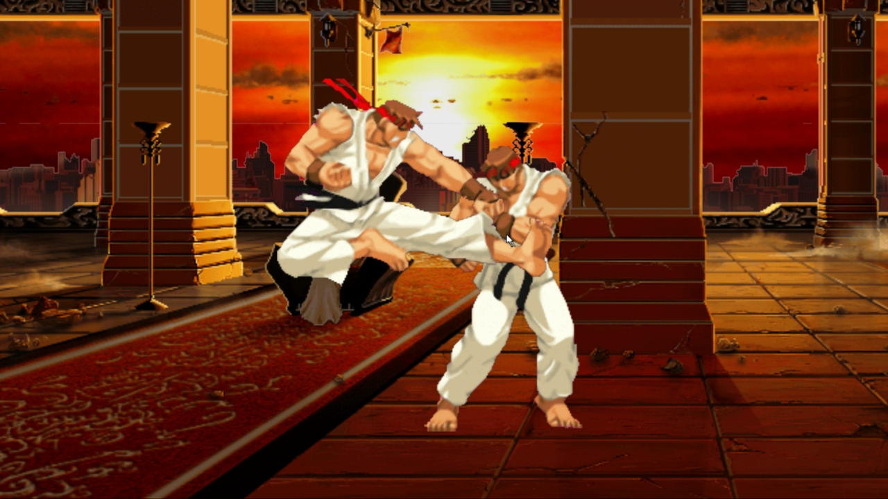 The good Ryu performs an attack versus his doppelganger