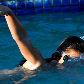 Girl Swimming by Mark Mücke - Sports & Fitness Swimming ( watersport, girl, pool, sports, fun, swimming )