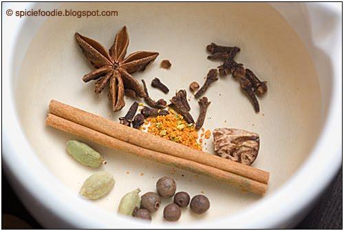 star anise,cinnamon stick,cloves, allspice, nutmeg, zest