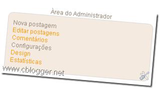 Área de administração no blogger