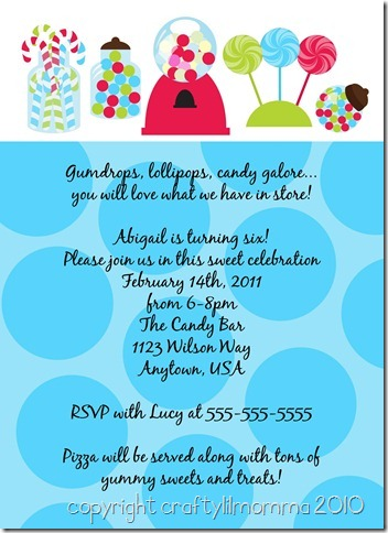 candy shoppe invitation