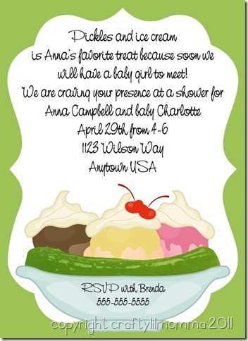 pickles & ice cream invitation