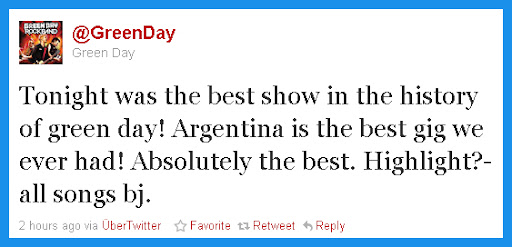 Green Day - Argentina 2010 - Twitter