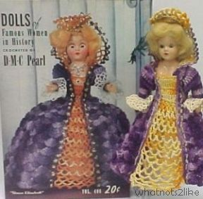 Dress-me doll crochet pattern Queen Elizabeth Famous Women in History DMC Pearl 1950s