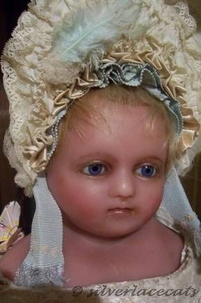 Antique poured wax doll English Montanari 1850s