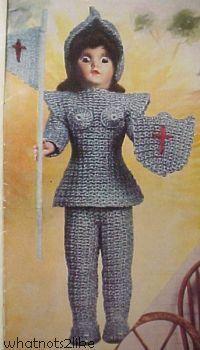 Dress-me doll crochet Joan of Arc Famous Women in History DMC Pearl 1950s