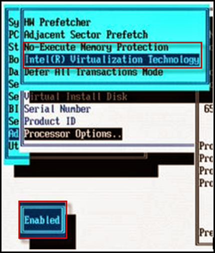 Enable VT and EVC in the Hewlett Packard (HP) BIOS