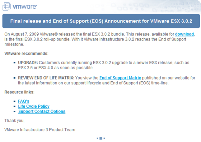 Final release and End of Support for VMware ESX 3.0.2