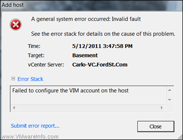 Unable to add ESXI host to VirtualCenter