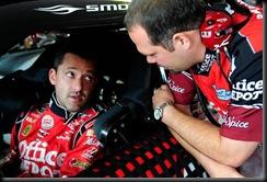 2010 Pocono Aug NSCS practice Tony Stewart Darian Grubb garage