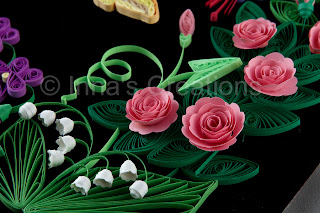 Quilled roses and lily-of-the-valley