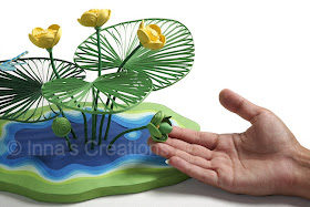 Quilled yellow water lily (with hand)