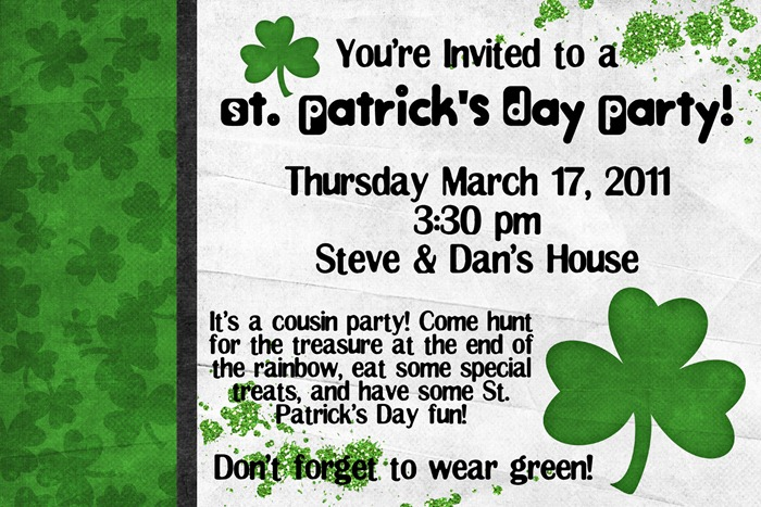 st pat party invite