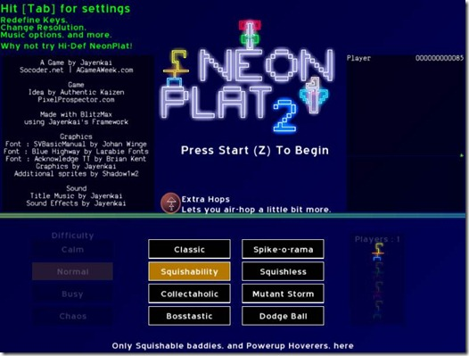 NeonPlat 2.2 freeware game (title)