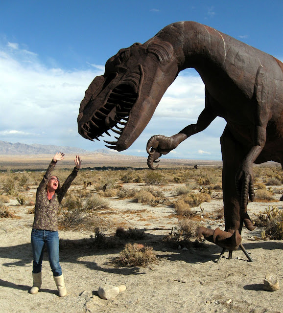 Mary about to be devoured by a T-rex in the Anza Borrego Desert