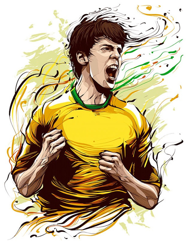 Illustrated Portrait of Kaka, Brazilian Football Player