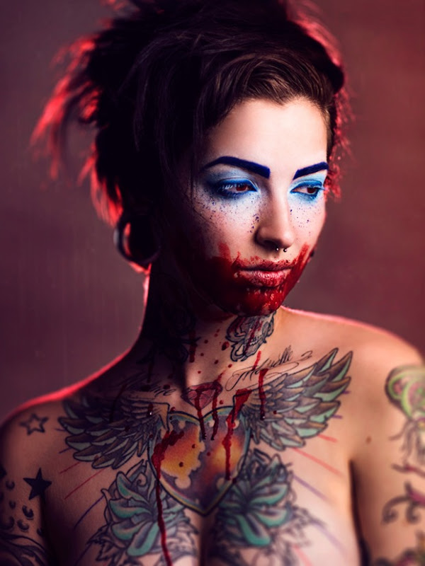 Fashion photography with Tattoos and color shades in Body