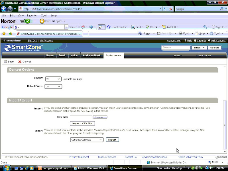 import export contacts from comcast webmail