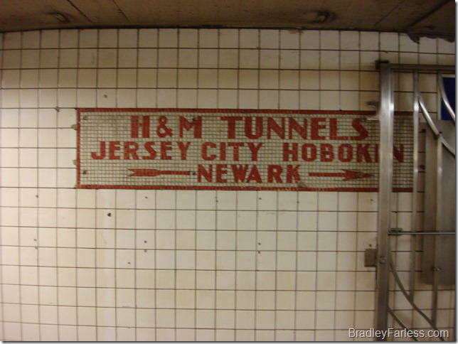 The sign for the PATH train to New Jersey at 14th Street and 6th Avenue.