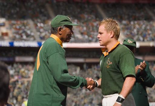 Morgan Freeman as Nelson Mandela and Matt Damon as Francois Pienaar in Invictus