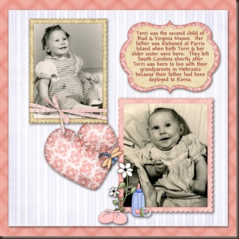 Kit used is Baby Robin PageKit by Lynn Griffin.  Font is Andy