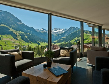 modern ski chalet switzerland interior design rustic contemporary hotel