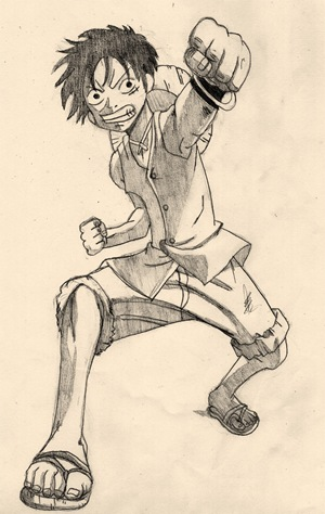 Monkey D. Luffy, Fan Art de One Piece por Keira