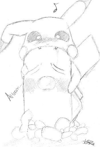 Pikachu tiene hambre xD, Fan Art de Laura S.Q.