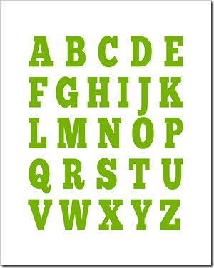 Alphabet Print - 11x14 - Apple Green - Sprik Space