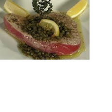 Grilled Tuna with Brown Butter Caper Sauce
