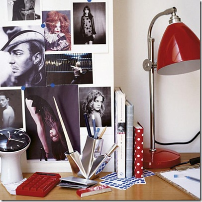 Desk red lamp postcards moodboard area L etc 10/2007 Pub Orig