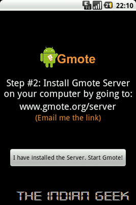Gmote - First launch