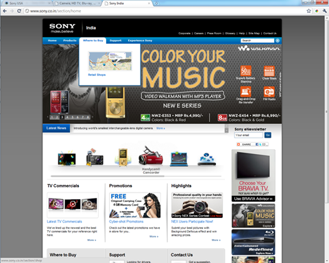 Sony India - Website