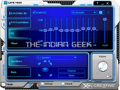 Creative X-Fi software interface