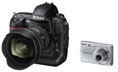 Size comparison between a Nikon dSLR and a Nikon Coolpix cameras