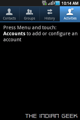 Samsung Galaxy Ace S5830 screenshot - Contacts App