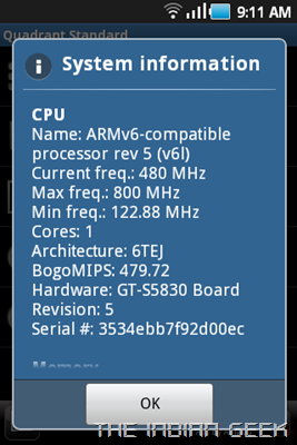 Samsung Galaxy Ace S5830 screenshot - CPU throttled to 480 Mhz