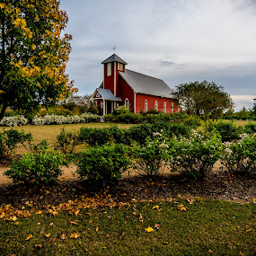 LITTLE RED CHURCH IN FALL by DJ HOGG - Landscapes Prairies, Meadows & Fields ( d810, color, 2014, texas, fall, landscape, nikon )