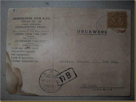 Kartu Pos Liem Khe Siong 1929 tampak depan