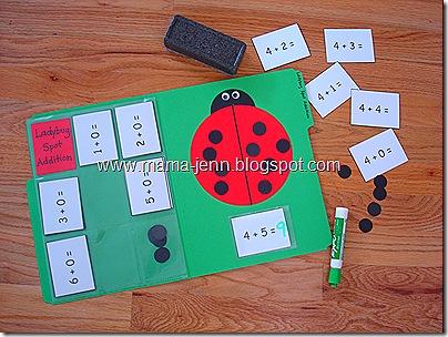 Ladybug Spot Addition File Folder Game