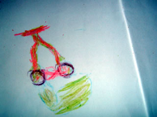 color lawn mower drawn with crayons