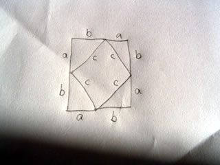 Drawing of a proof for the pythagorean theorem