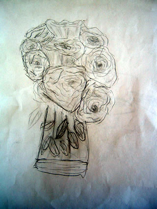 Sketch of a boquet of roses