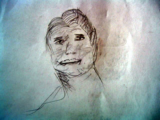 Portrait sketch with a skewed smile