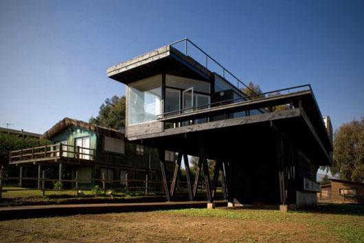 Elevated Platform Wooden Beach House Design